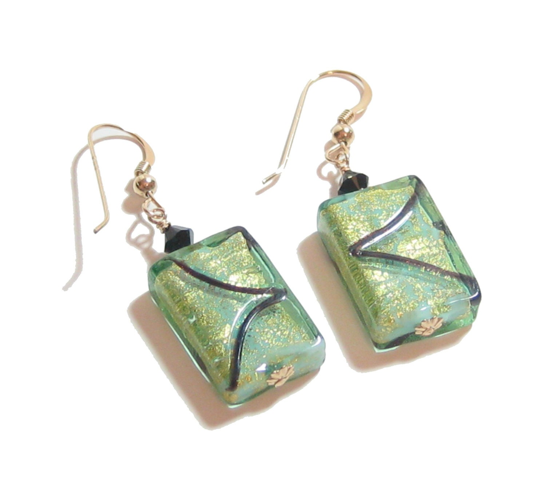 Murano Glass Aqua Gold Chunky Rectangle Earrings Venetian