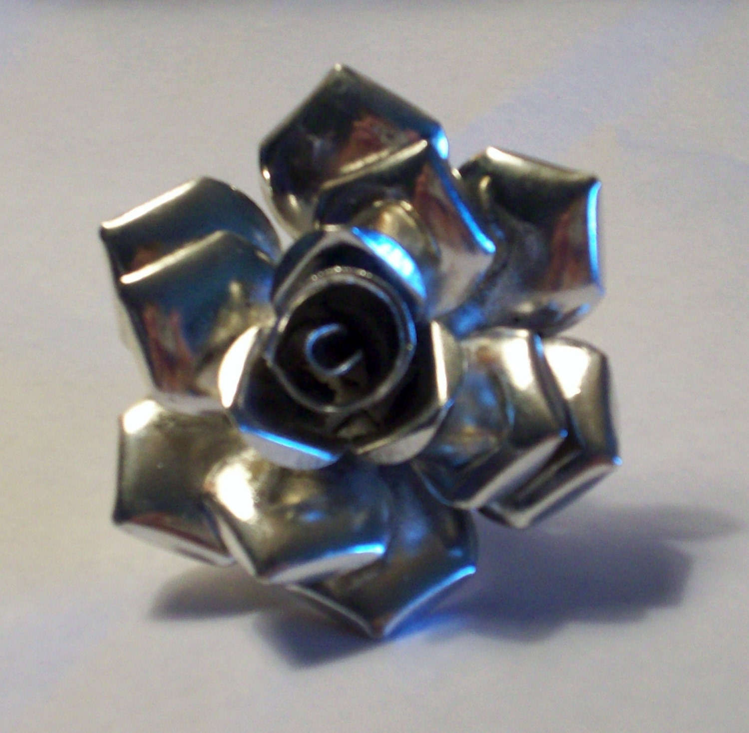 Funky Pewter Rose Ring