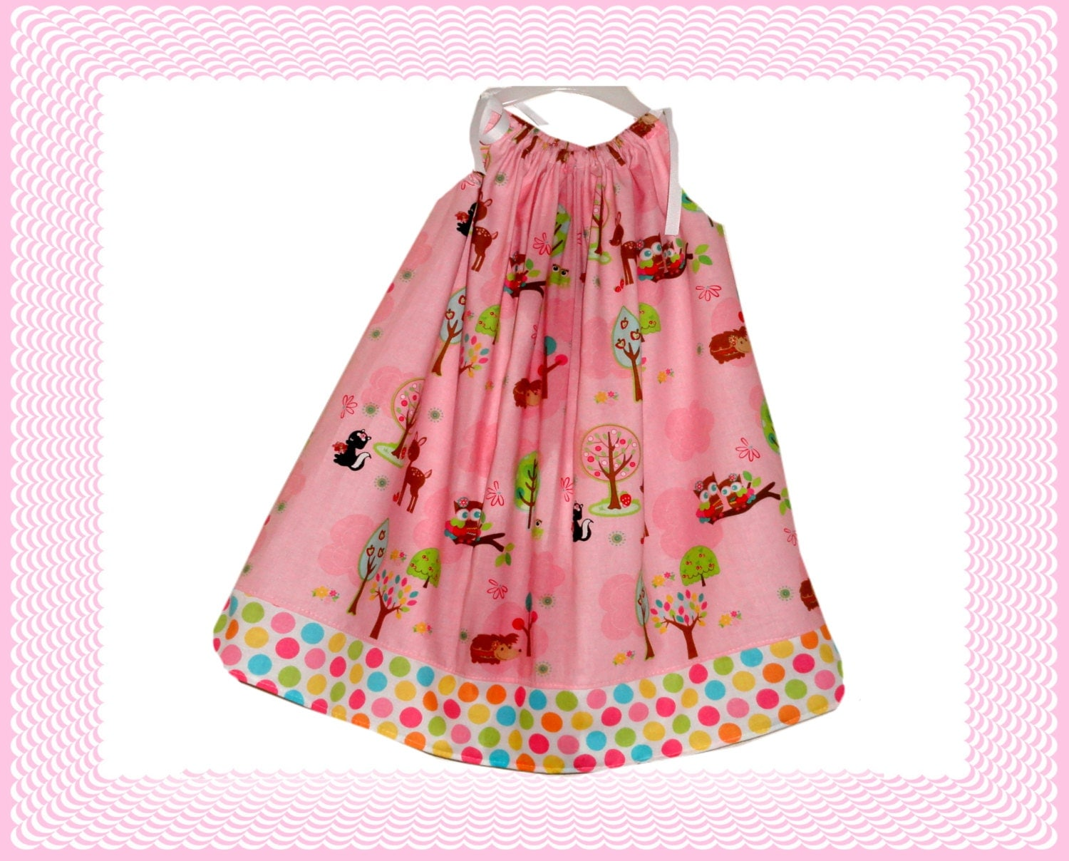 Toddler Girls Easter Egg Tree Dress Light Pink Pillowcase Dress - Amievoltaire