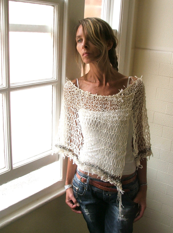 Ivory white linen poncho