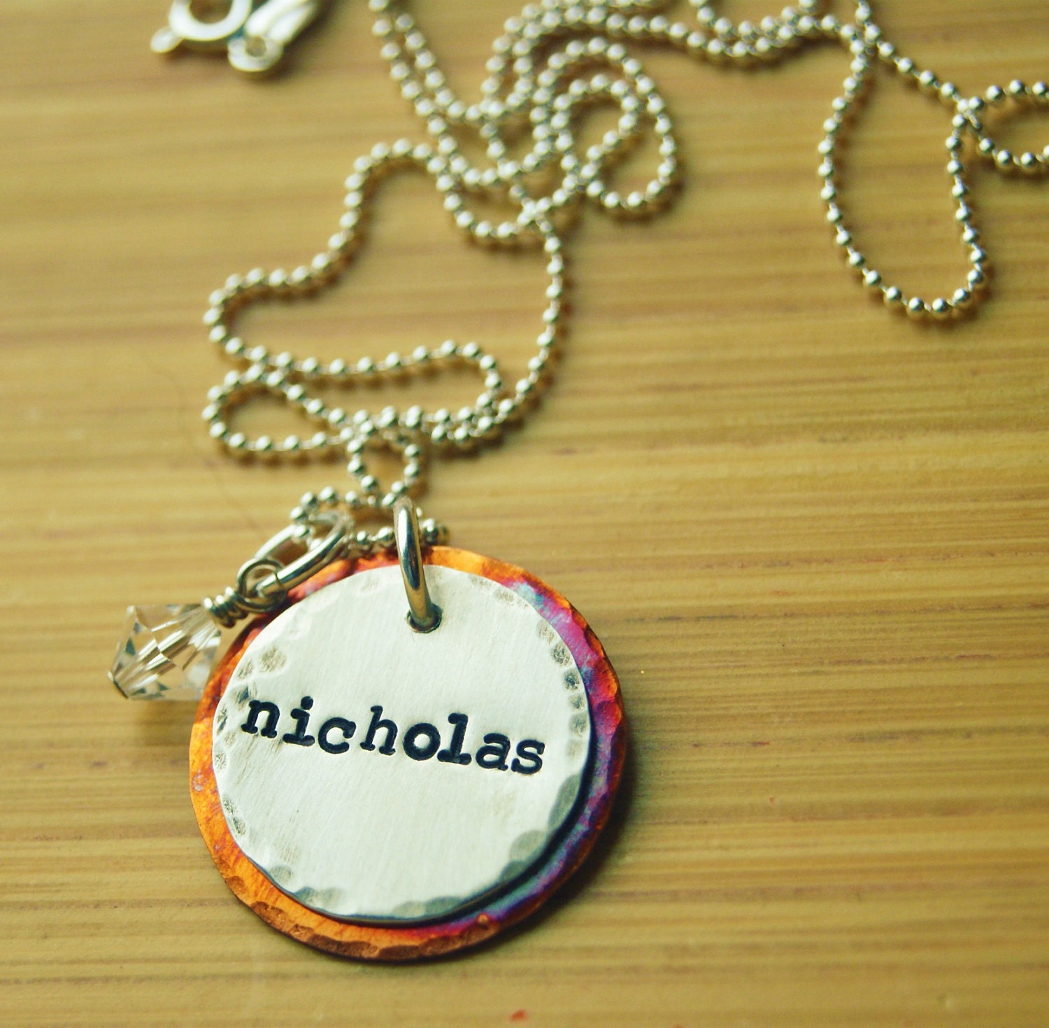 items similar to rustic sted child s name necklace