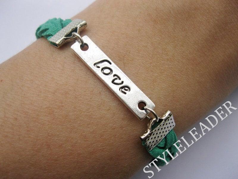 Bracelet-antique silver love bracelet,love braid bracelet