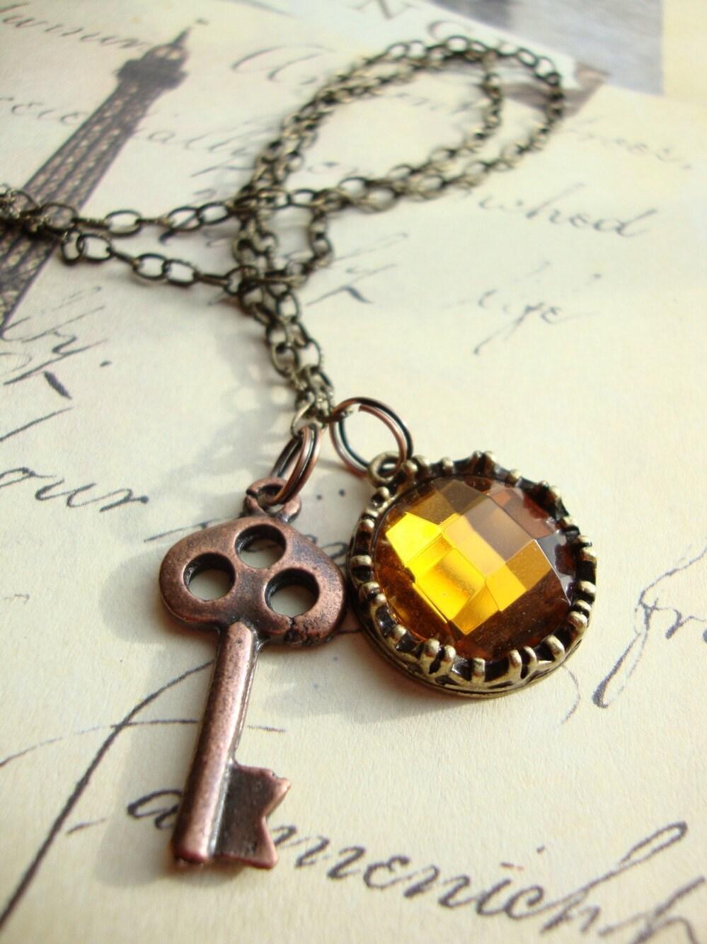 Copper Key and Amber Gem Vintage Inspired Necklace