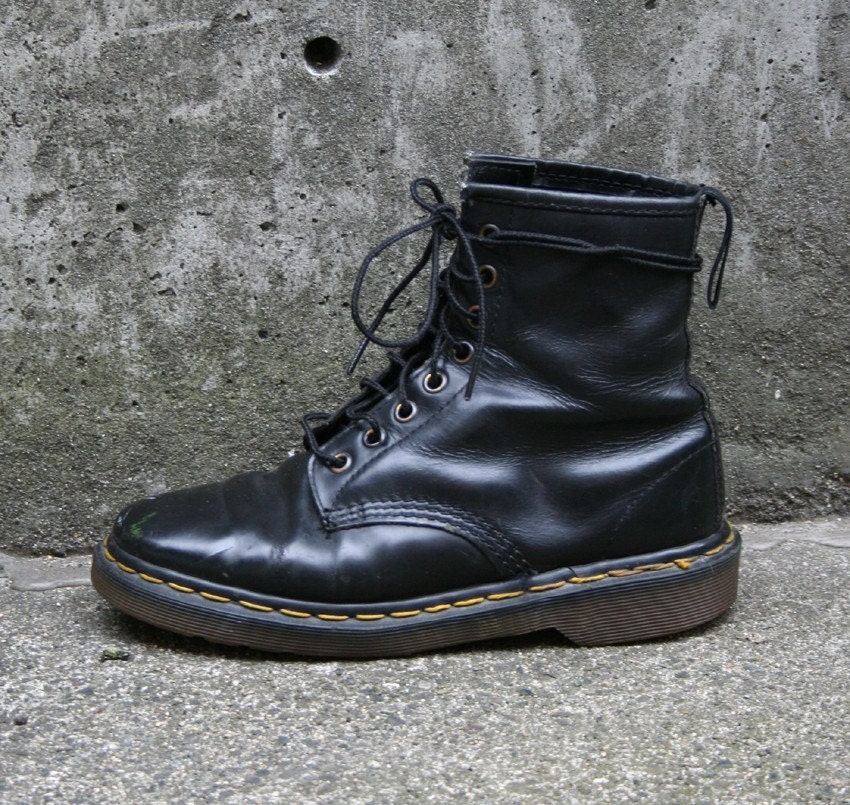 classic black doc martens combat boots by luckyvintageseattle