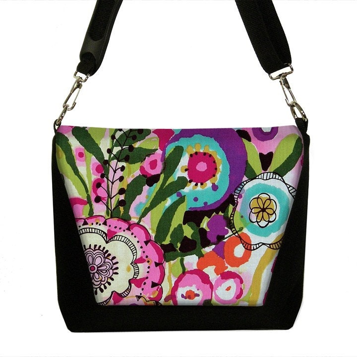 Ready to Ship - Digital SLR Camera Bag and Lens Case padded DSLR Messenger - Grunge Art Floral 3