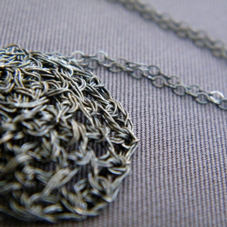Round Lace Necklace, Crochet Oxidized Sterling Silver