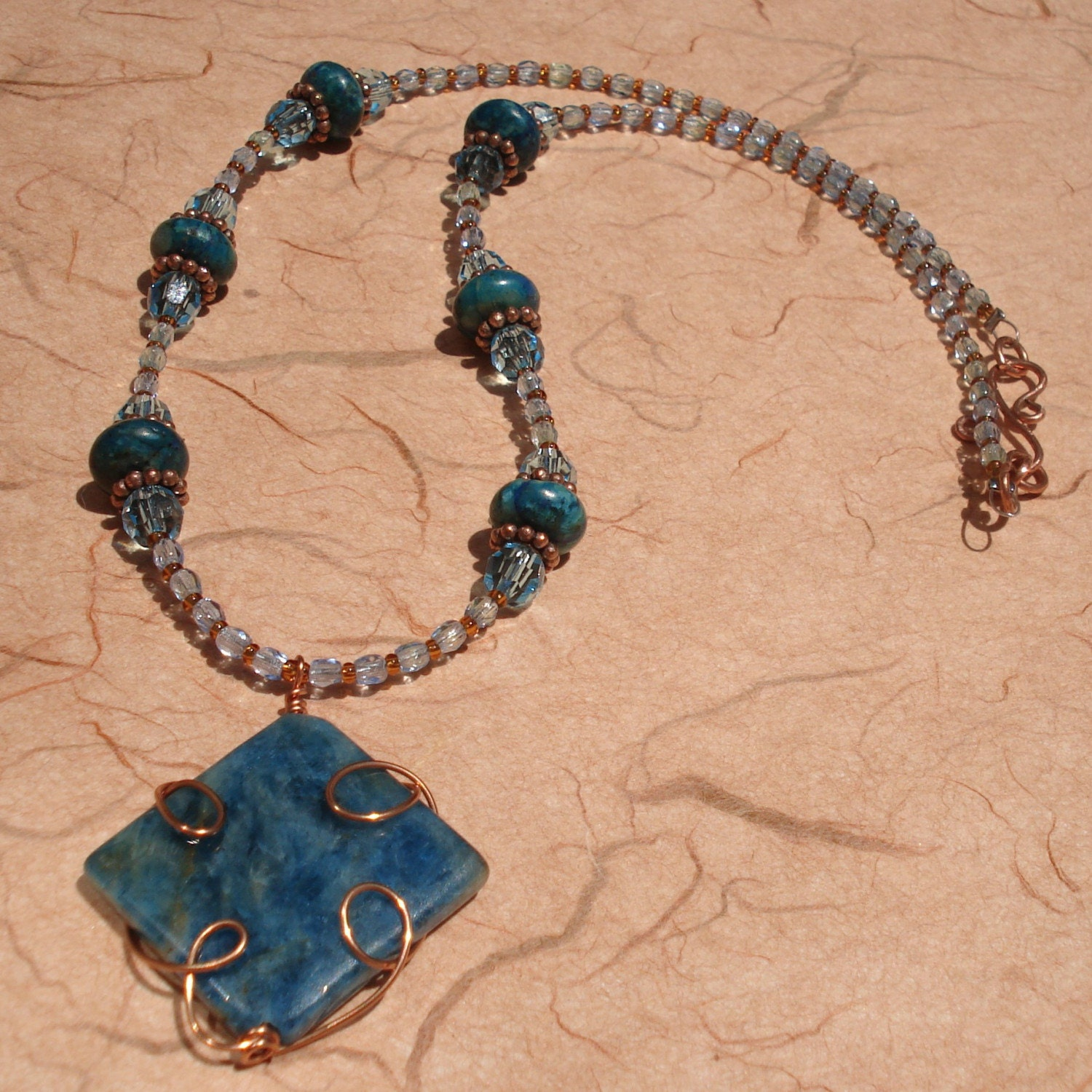 blue apatite pendant with copper beads