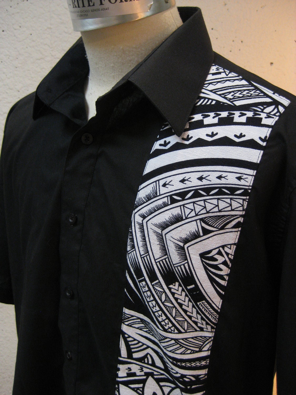 aloha shirt black with samoan tattoo print last one by luckyzelda. Black Bedroom Furniture Sets. Home Design Ideas