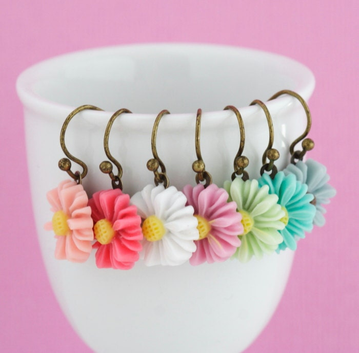 Little Daisy Earrings, Colorful Flower Earrings - One Pair