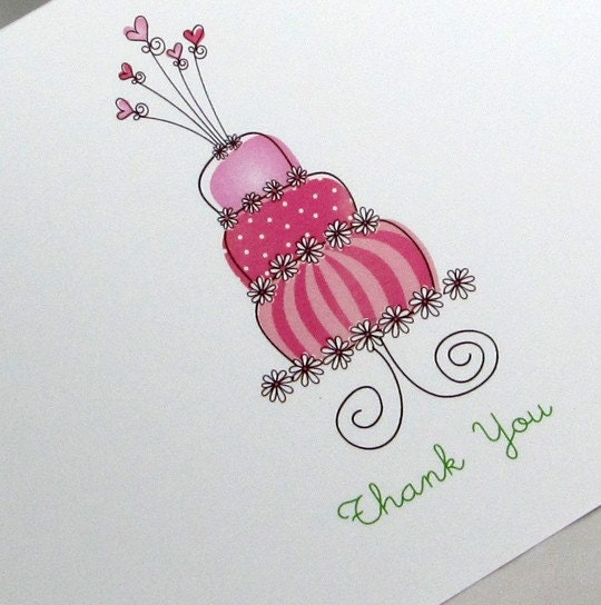 Personalized Note Cards Whimsy Cake