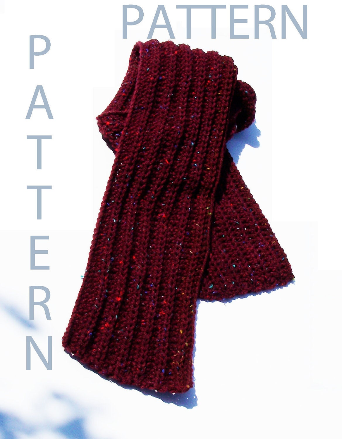 Easy Ribbed Crochet Scarf Pattern by EvelynsStuff on Etsy