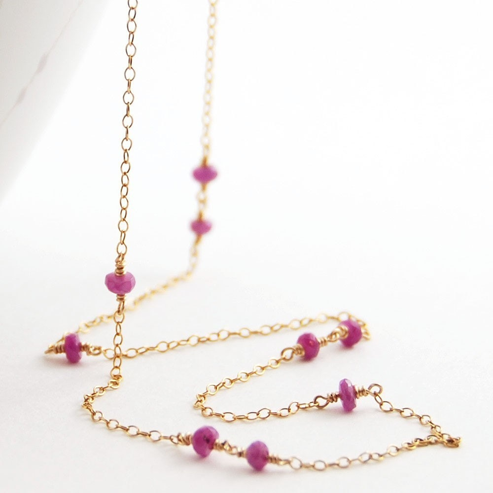 Pink Sapphire Gold Necklace, Wire Wrapped Gemstone Necklace, September Birthstone, Long Delicate, aubepine - aubepine