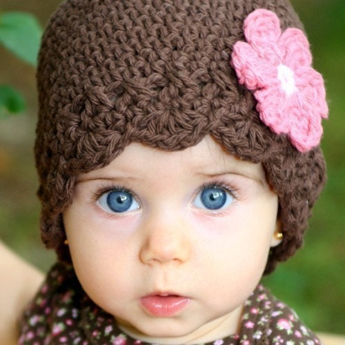 3-6 Month Daisy Flapper Beanie - chocolate, pastel pink, rose pink