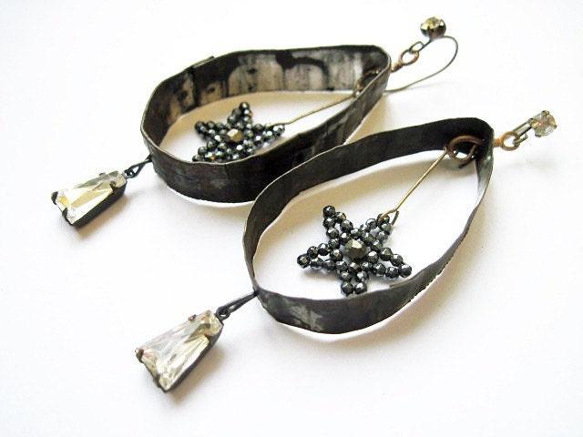 Twinkle. Rustic Assemblage Earrings. Gypsy Grey Found Object Monochromatic.