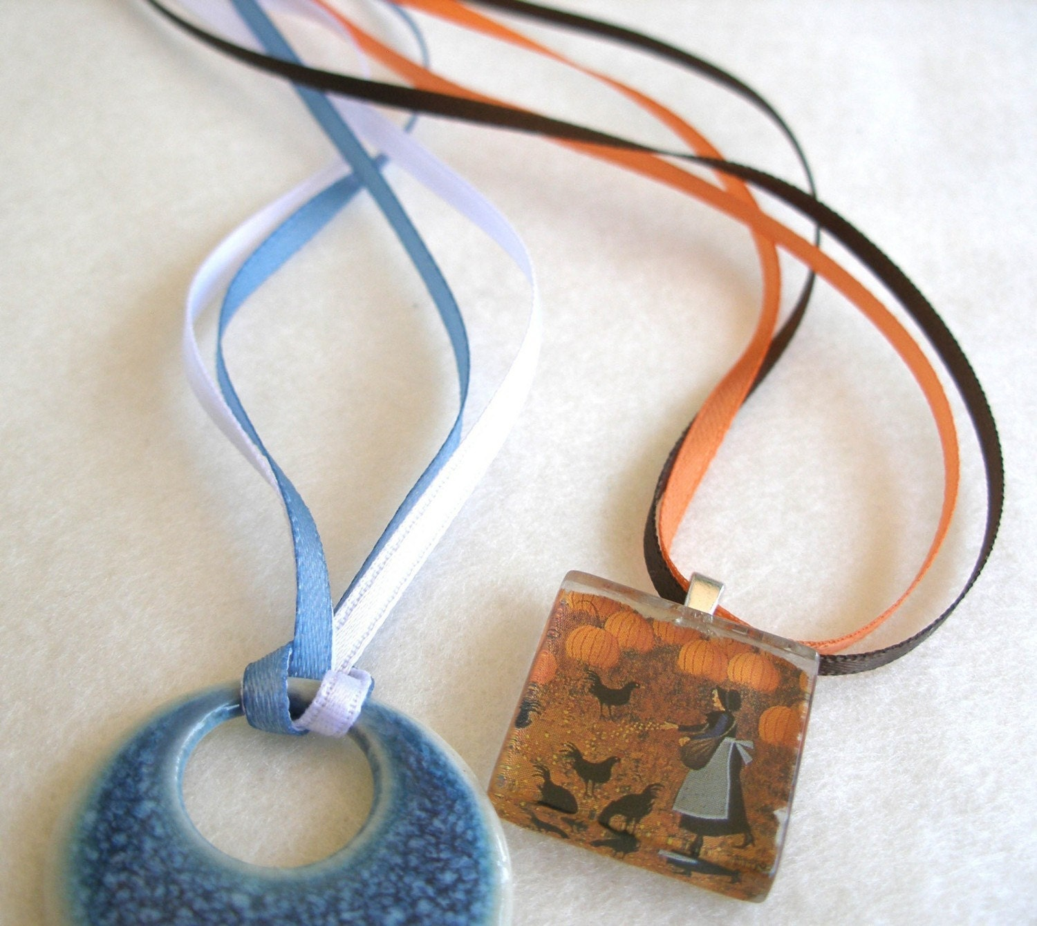 12 - Necklace Cords Double Strand Satin Any Length, 21 Colors use with Scrabble/Glass Tile Pendants and all Aanraku bails.