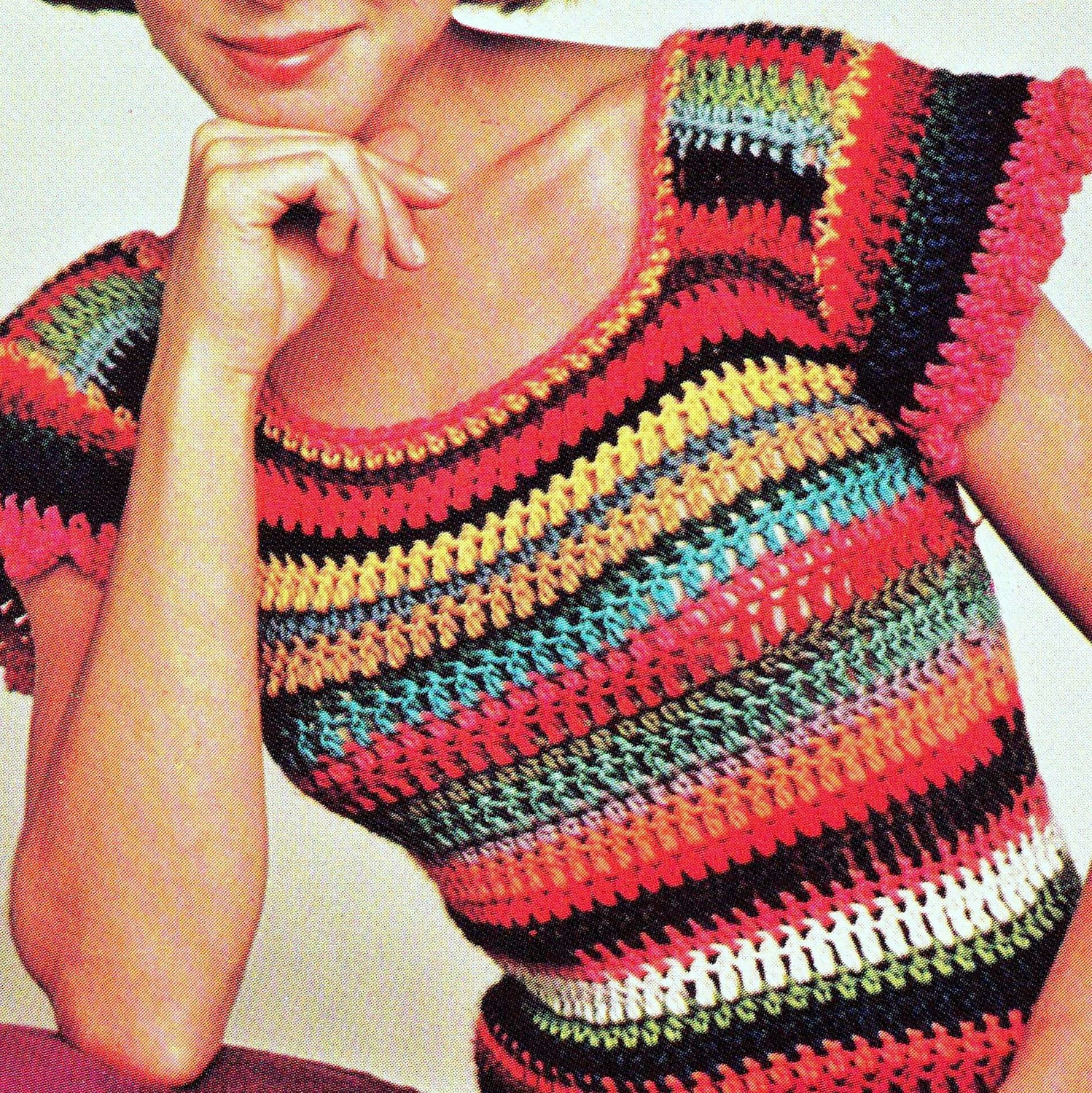 Crochet Patterns Pdf Free Download : INSTANT DOWNLOAD PDF Crochet Pattern Cap Sleeved Top Blouse Vintage ...
