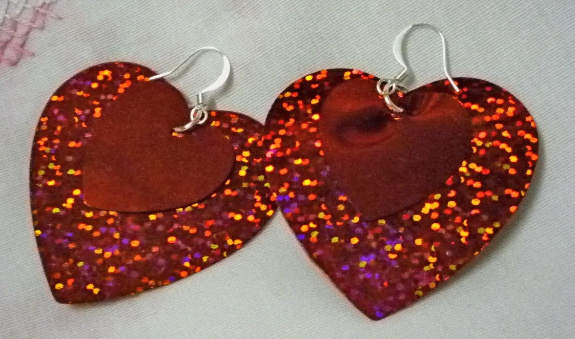Sparkley Heart  Earrings  Handmade