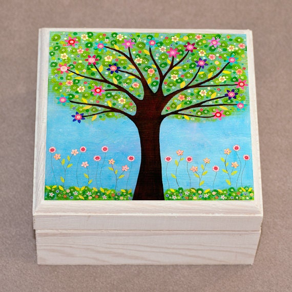 Jewelry Box Tree Jewelry Box  Wooden Jewelry Box  Handmade Jewellery Box  Sunlight