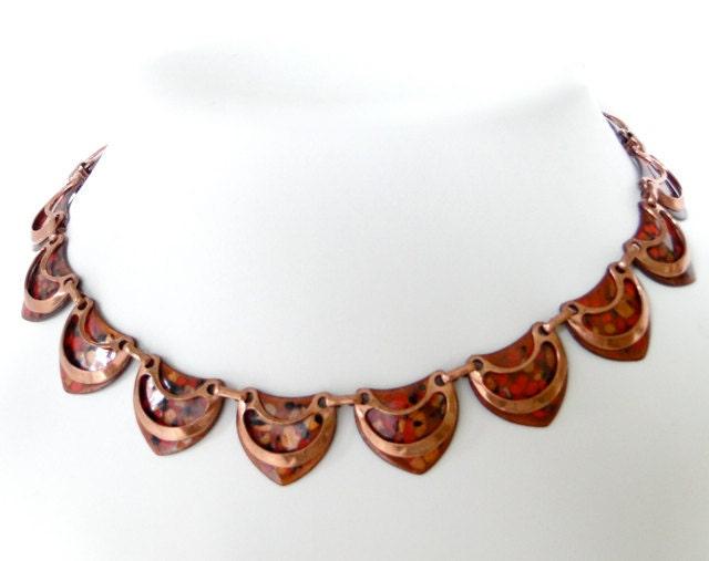 Vintage Necklace Matisse Renoir Orange Red Copper by SeasideStudio