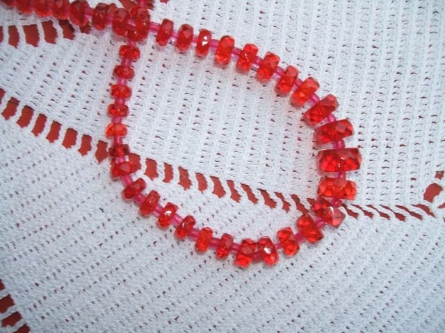 red glass vintage 1920s necklace