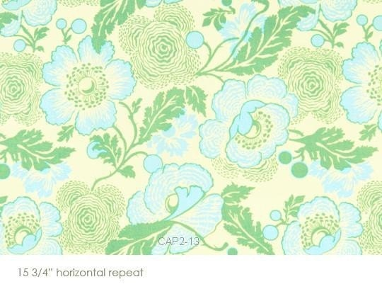 Amy Butler Midwest Modern Fresh Poppies Green fabric by the yard