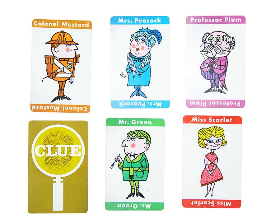 Vintage Game Cards from 1963 Clue board game - characters, weapons ...