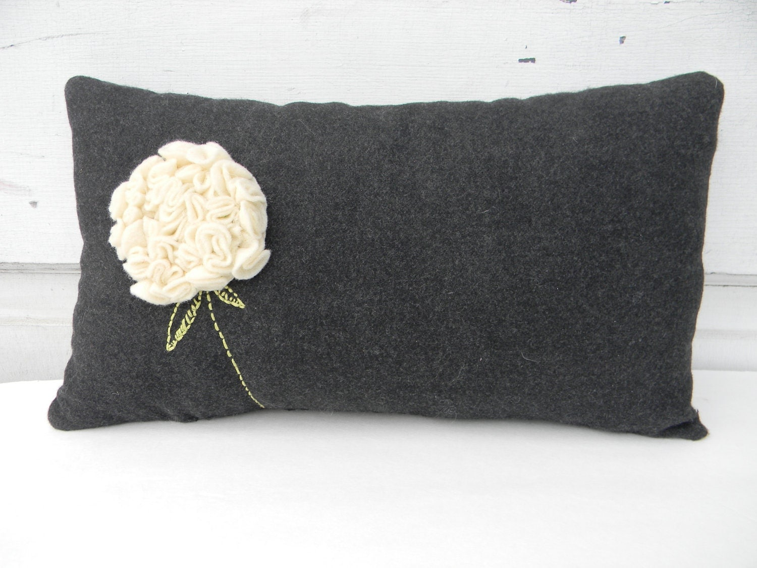 Susie's Gray Wool Hydrangea Pillow