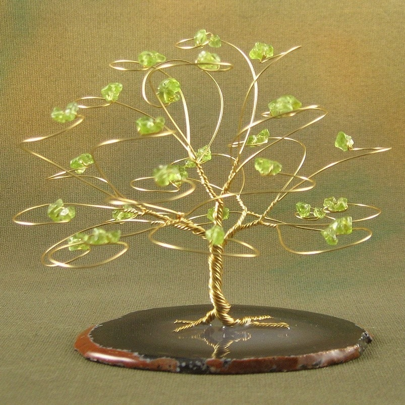 Peridot and Gold Gemstone Tree - August