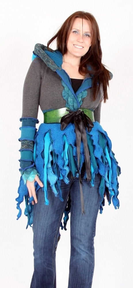 RESERVED for Luna - One of a kind Tattered Pixie Coat by Enlightened Platypus -  Upcycled Elf Couture
