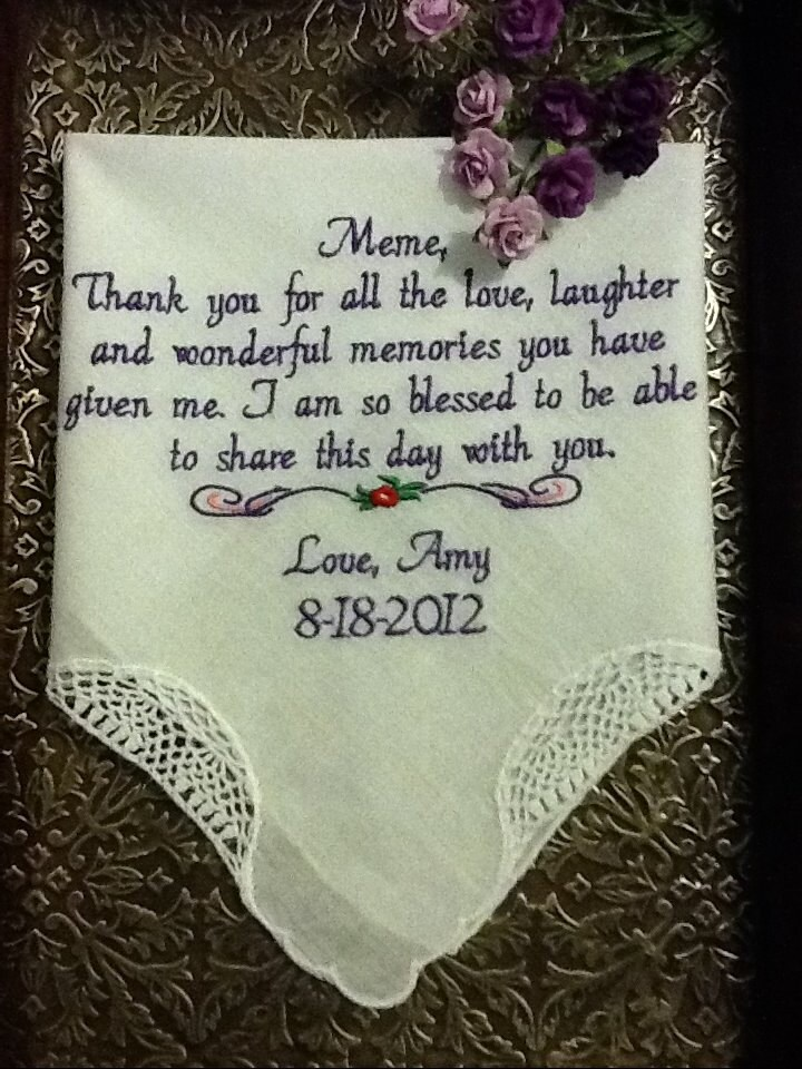 Custom Embroidered Handkerchief - Blessed to Share This Day With You - By Canyon Embroidery on ETSY