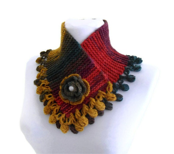 knit collar, fall fashion, multicolor, neckwarmers, autumn, wool, hand-knitted,fashion,gift, new,valentines day
