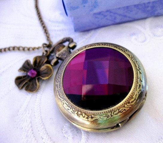 Steampunk -  Neo Victorian Amethyst Crystal Pocket Watch