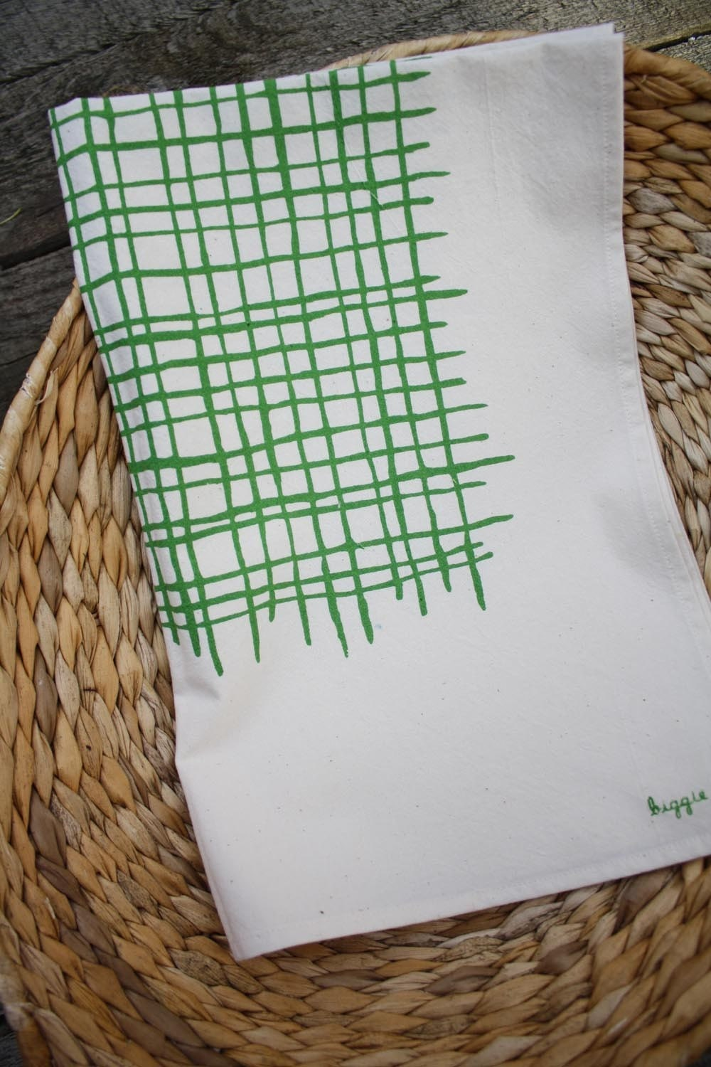 Printed Tea Towel - Green Weave on White