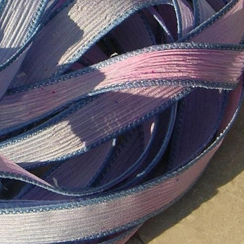 Jamn Angel Wings Hand-dyed Sewn Silk Ribbons  Soft Pastel Watercolor Pink Blue Lavender Baby Blue