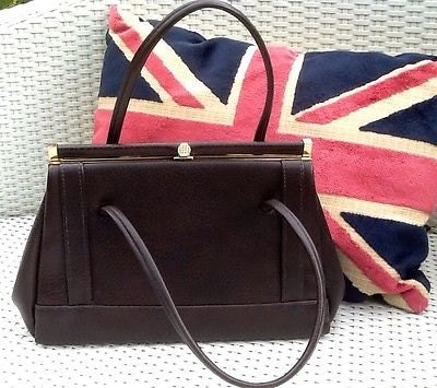 Vintage Classic Kelly Brown Faux Leather Handbag with Gold Clasp  1960s