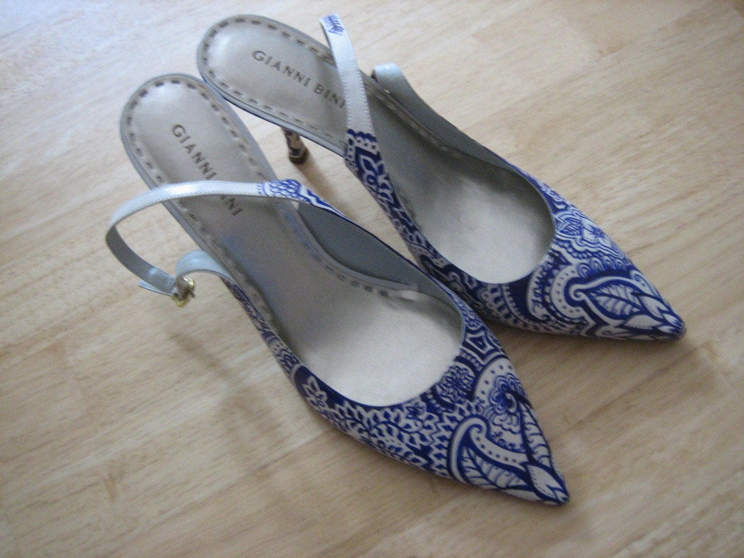 Something Blue Hand Drawn Blue and White Bridal Shoes