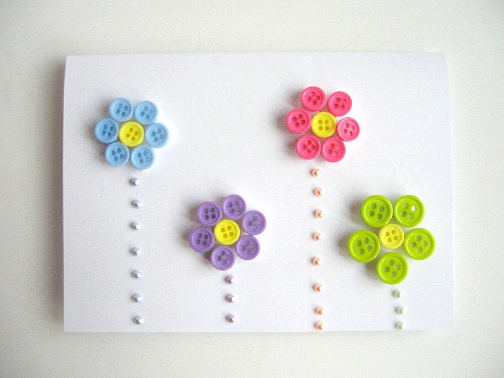 Spring Button Flowers Greeting Card