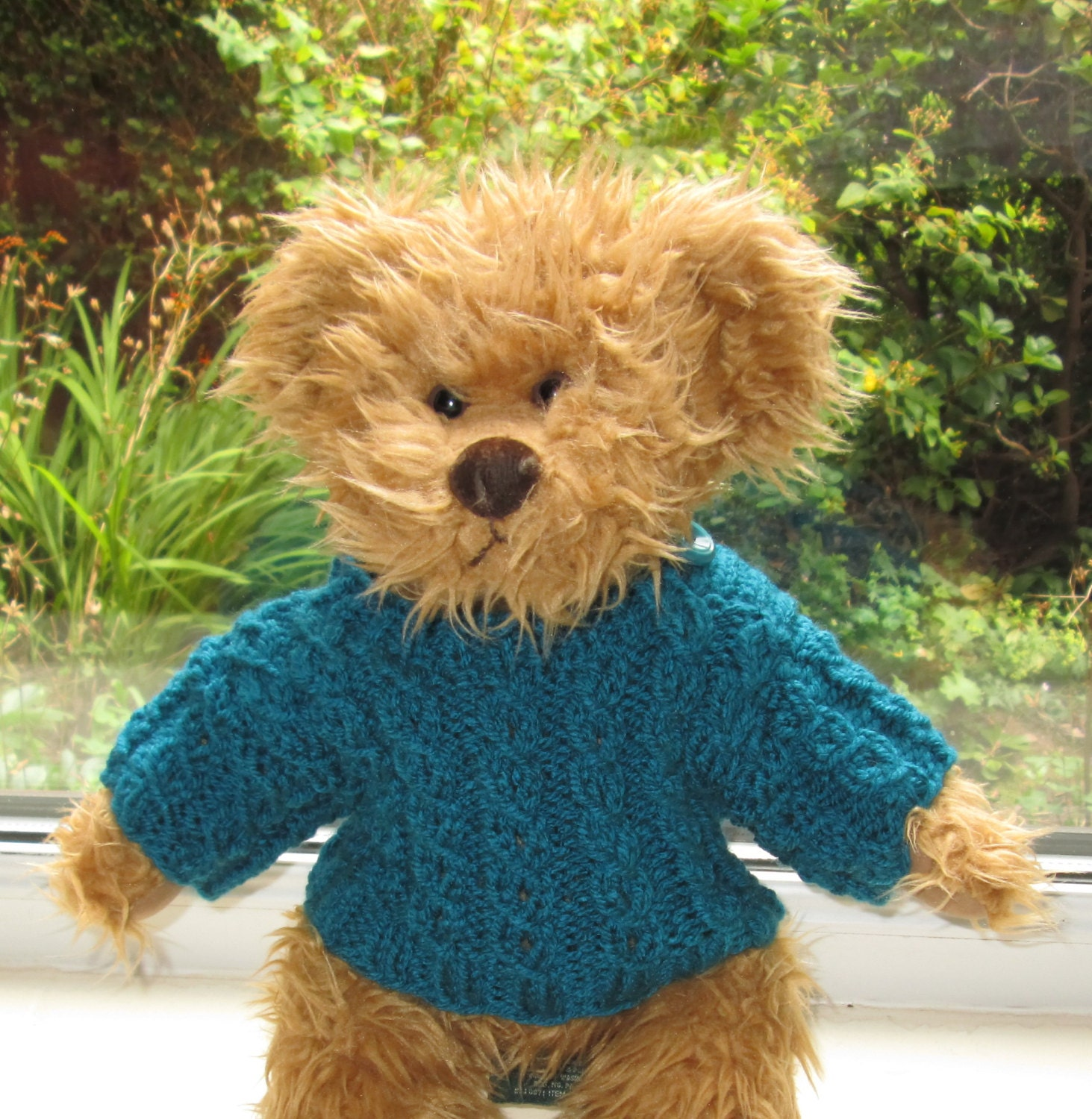 Teddy Bear Clothes Traditional Hand Knitted Turquoise Aran Cable Patterned JumperSweater To Fit An 14 inch bear Toy Clothes Ready To Ship