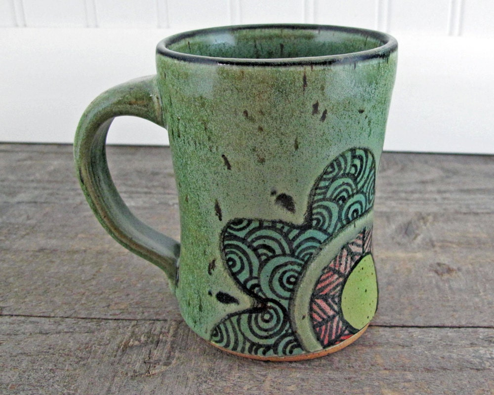 Handmade Coffee Mug - Doodle Flower in Red, Turquoise, Yellow, and Green