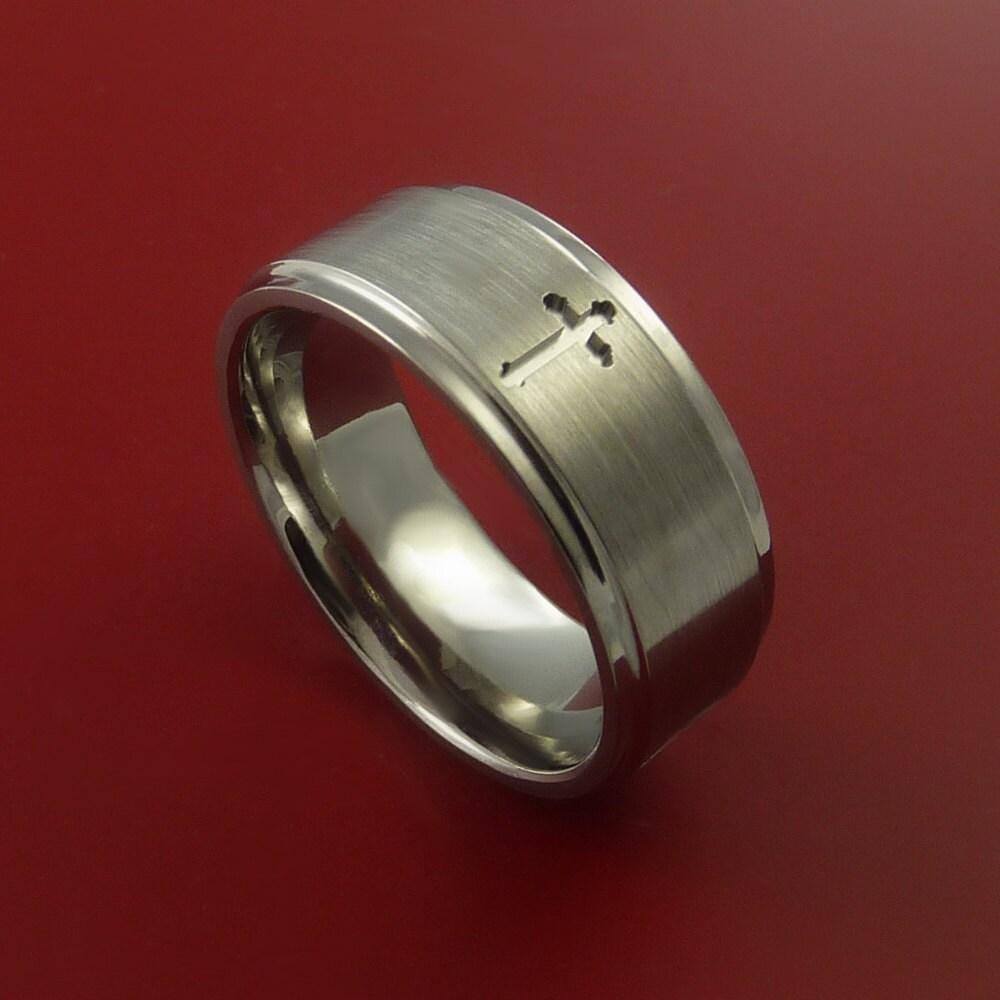 titanium christian wedding band cross ring by