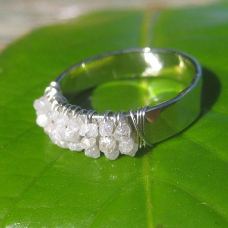 Hand Forged White Gold And Rough Diamond Ring