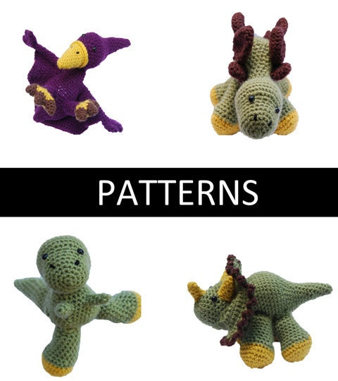 Set of 4 - Dinosaur Amigurumi Crochet PATTERNS - PDF