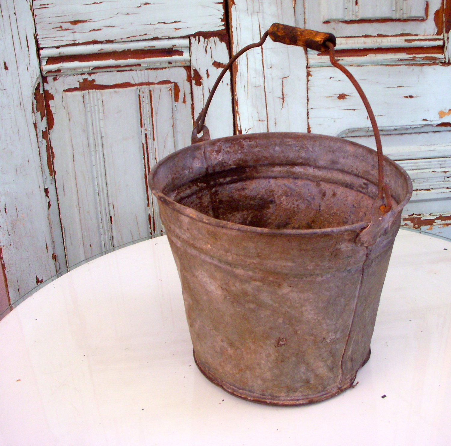 Metal bucket pail shabby vintage antique by honeystreasures for Rustic galvanized buckets