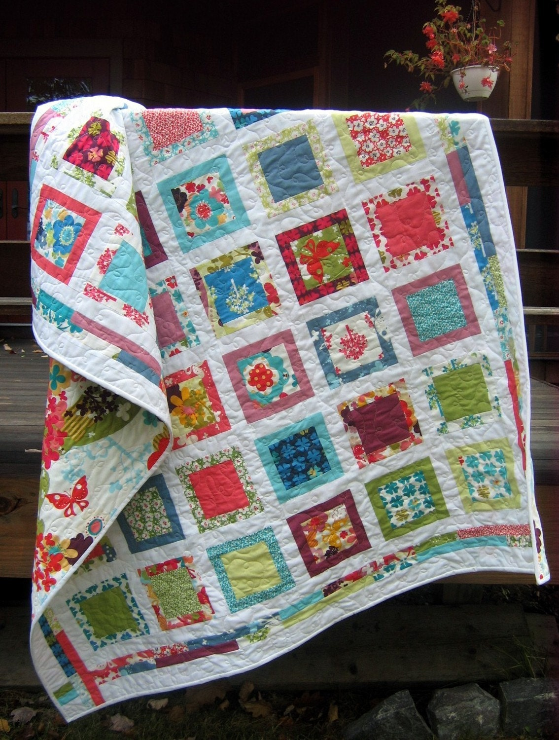Easy Quilt Patterns With Layer Cakes : Baby or lap QUILT PATTERN Layer Cake Fat Quarters easy eBay