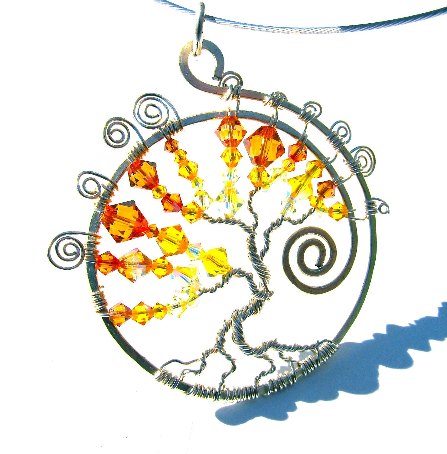 Swarovski Tree of Life, Sunny Yellow and Orange Swarovski Crystals Wrapped with Silver Wire on a Sleek Nylon Choker Cord - CarrieEastwood
