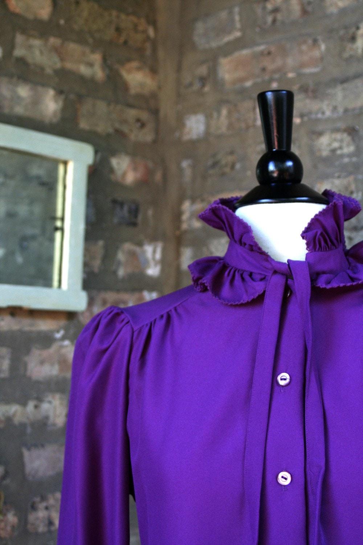 Vintage Dark Purple Ruffle Ascot Tie Secretary Blouse