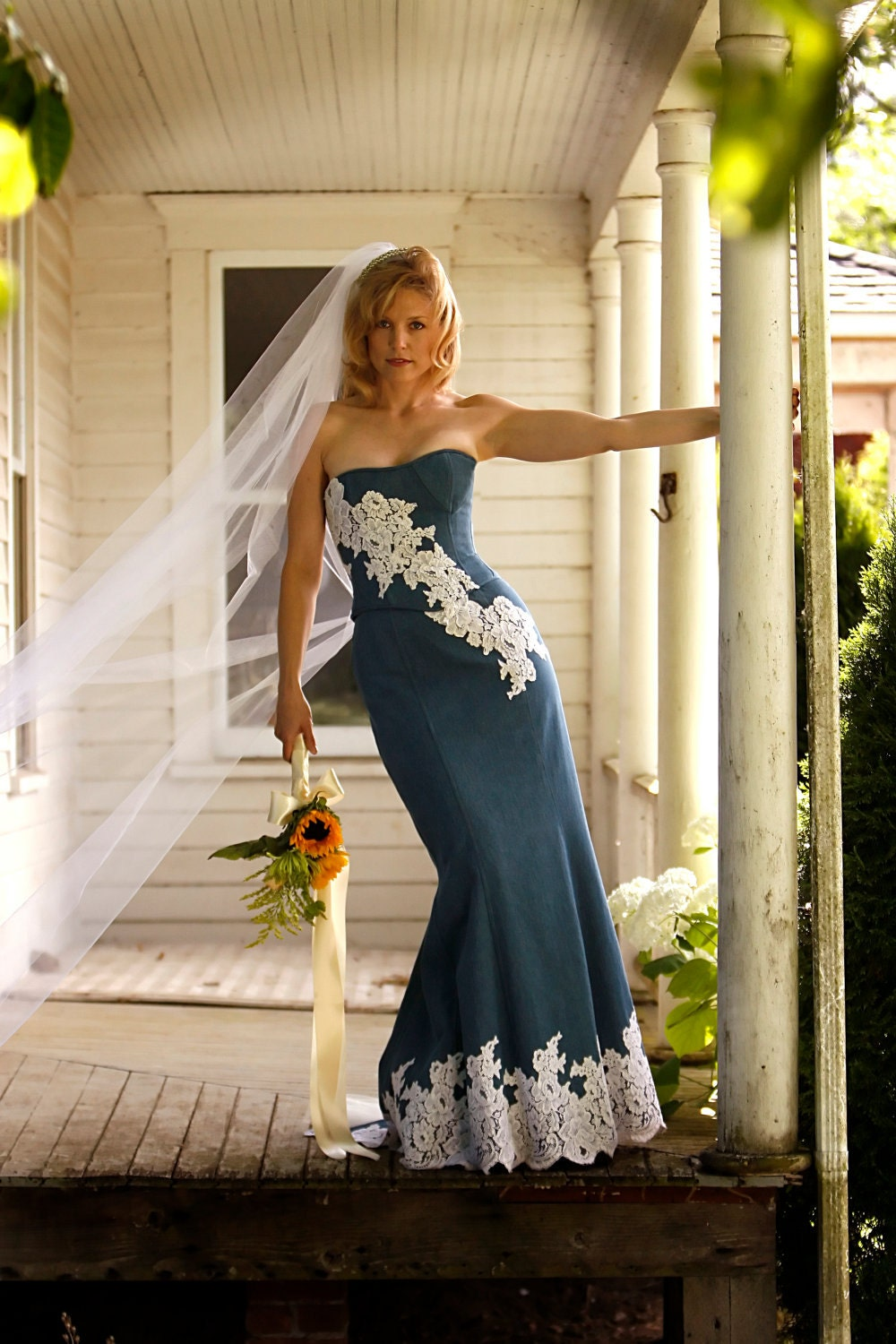 Unique denim and lace country wedding dress by bellavittoria for Dresses for a country wedding