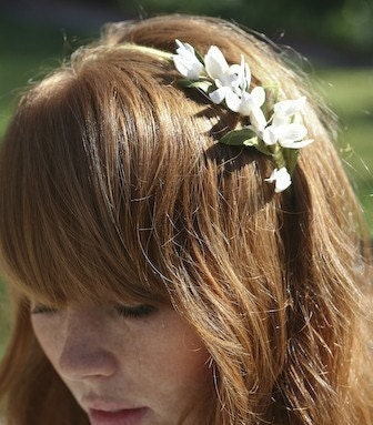 Vintage Ivory flowers on green Headband