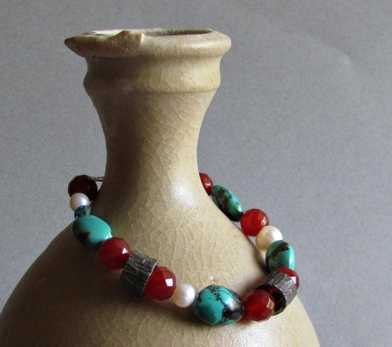 Turquoise and Carnelian Bracelet with Fine Silver Beads