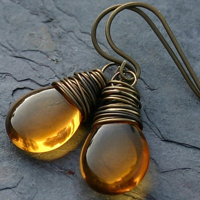 Topaz Czech Glass Smooth Teardrop Antiqued Brass Wire Wrapped Earrings - Honey